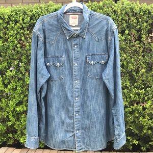 Levi's Denim Jean Pearl Snap Shirt Size XXL
